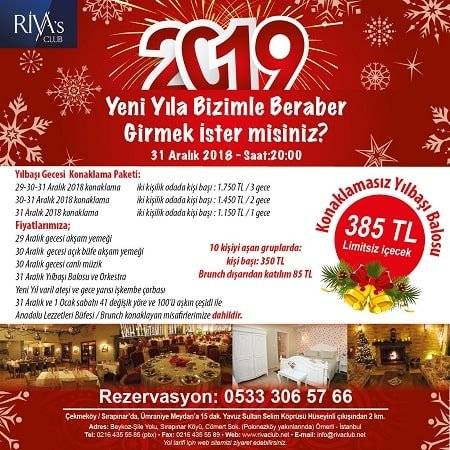 Riva's Club Otel İstanbul Yılbaşı 2019