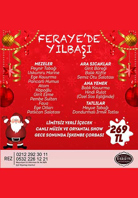 Feraye Restaurant İstanbul Yılbaşı 2020